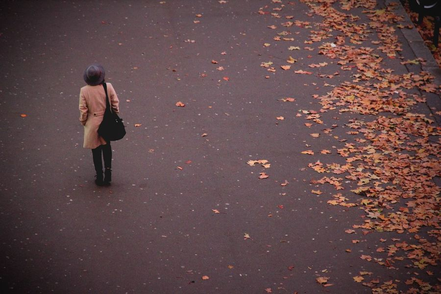 Woman with hat walking in the Streets Alone Autumn Autumn Leaves City Fashion Hat Lonely Winter Woman Bird View Citylife Cold Day Fashionable One Person Outdoors People Seaon Street Streetphotography Walking Winterclothing Women Young Woman Young Woman Walking