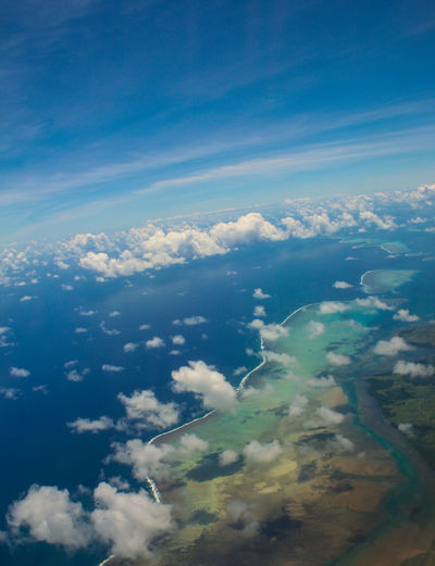 Aerial View Airplane Blue Sky City Cityscape Cloud - Sky Colours Coral Day Fiji Islands Flying Flying High Islands Nature No People Out Of The Window Outdoors Planet Earth Satellite View Scenics Sky South Pacific Space Tranquility View From Above