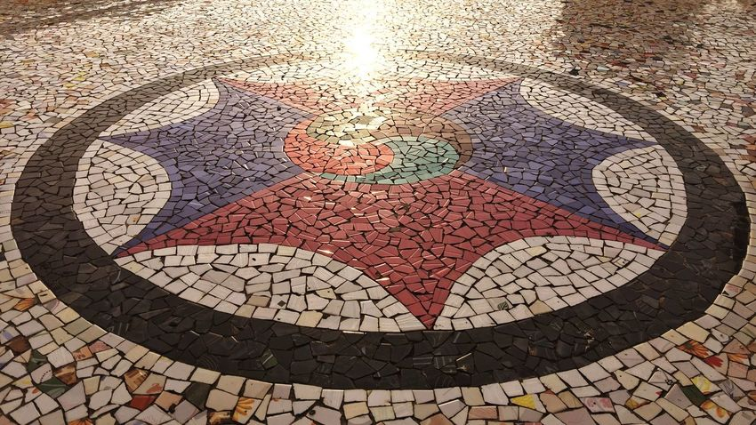 High Angle View Mosaic Geometric Shape Circle Multi Colored Symbol Full Frame Footpath Creativity No People Tourism Pedestrian Walkway Intricacy