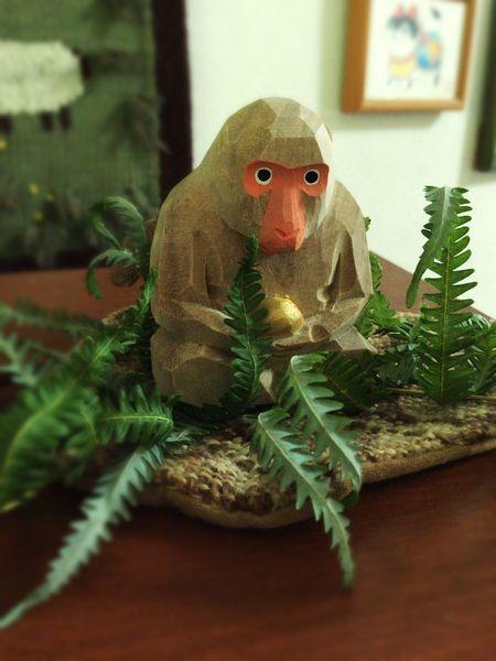 猿 申 申年 干支 Figurine  木彫 Wood Monkey