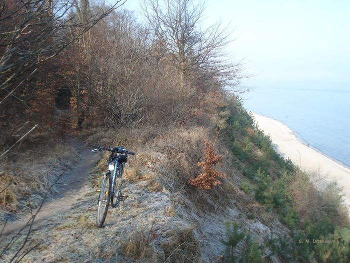 Fahrradtour Insel Usedom Mountain Bike Steilküste Bei Ückeritz Strand Usedom Ostsee Beauty In Nature Bike Clear Sky Cycling Forest Nature No People Outdoors Sea Water