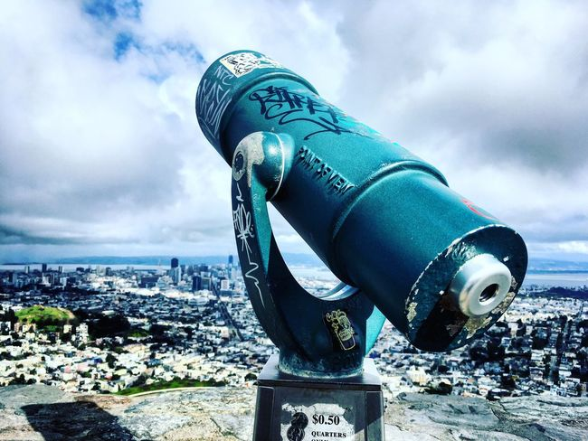 Twin peaks Sky City Coin-operated Binoculars San Francisco Cloud - Sky Binoculars Outdoors Day Metal Cityscape No People Nature Weather Skyline City Tranquil Scene Tourist Travel Destinations