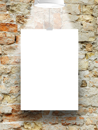Single hanged paper sheet with lamp on weathered brick wall background A4 Format Dimension Ancient Brick Wall Bad Condition Blue Broken Brown Clip Deterioration Lamp Light And Shadow Old Orange Paper Ruined Scratched And Cracked Wall Shades Of Grey Single Object Studio Shot Transfer Print Vertical Frame Vertical Paper Sheet Wall Wall - Building Feature White