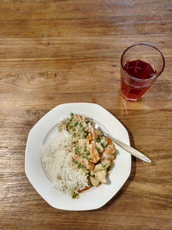 Food And Drink Plate High Angle View Table Drink Drinking Glass No People Refreshment Ready-to-eat Food Healthy Eating Alcohol Day Close-up Rice Bowl Risotto Fricassee Carrots Carrot Pea Peas Turkey Beef Foodphotography Fork