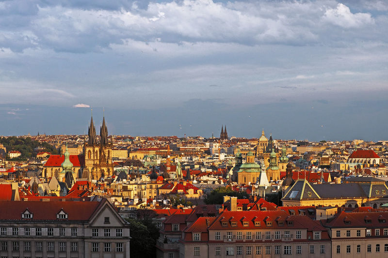 View of old town in prague from hanavelsky pavilon, prague, czech republic
