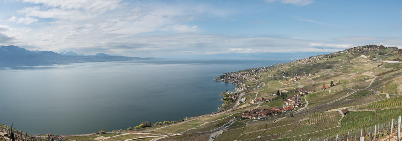 View over Lavaux region, UNESCO World Heritage site Lake Lake View Switzerland Mountains Panorama Vineyard Beautiful Landscape Water Beauty In Nature Sky Day Tranquility Outdoors Nature Tranquil Scene