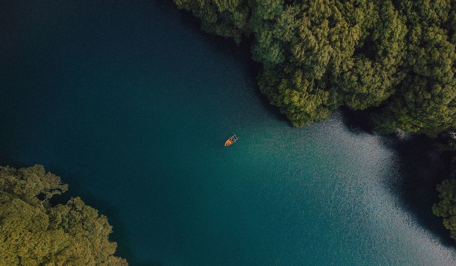 High Angle View Of Boat In Sea Amidst Trees In Forest