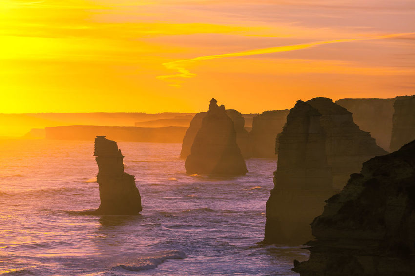 Twelve Apostles rock formations, Great Ocean Road, Victoria, Australia 12 Apostles Australia Copy Space Great Ocean Road Port Campbell Beauty In Nature Dawn Day Dusk Horizon Over Water Nature No People Outdoors Port Campbell National Park Rock - Object Rock Formation Scenics Sea Silhouette Sky Sunrise Sunset Tranquil Scene Tranquility Water Wave