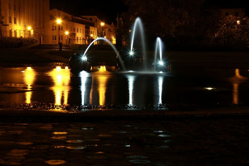 Dreaming Fontains Light Neustrelitz Architecture Built Structure City Colorful Fontain Illuminated Long Exposure Motion Nature Night No People Outdoors Reflection Spraying Springbrunnen Water Wet