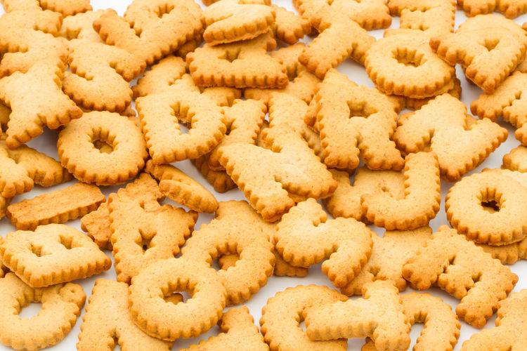 Full frame shot of letter-shaped cookies
