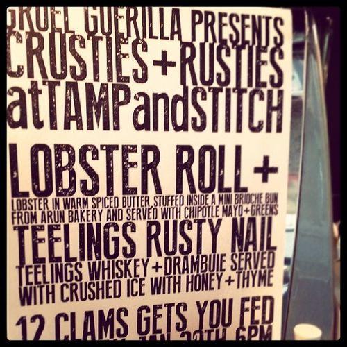 Getting ready..@gruelguerilla TeelingWhiskey Lobster Andpopup Crustiesandrusties
