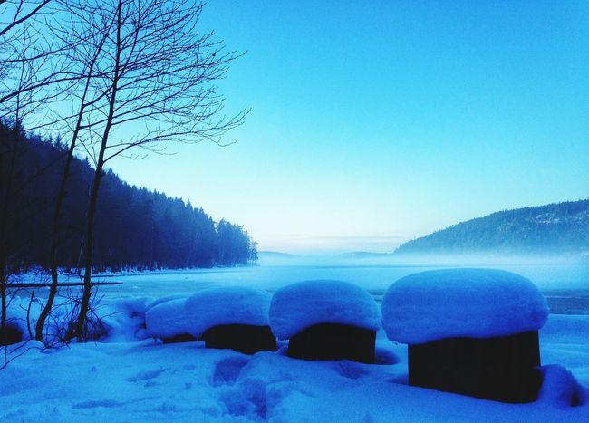 Winter Lake Sweden Blue
