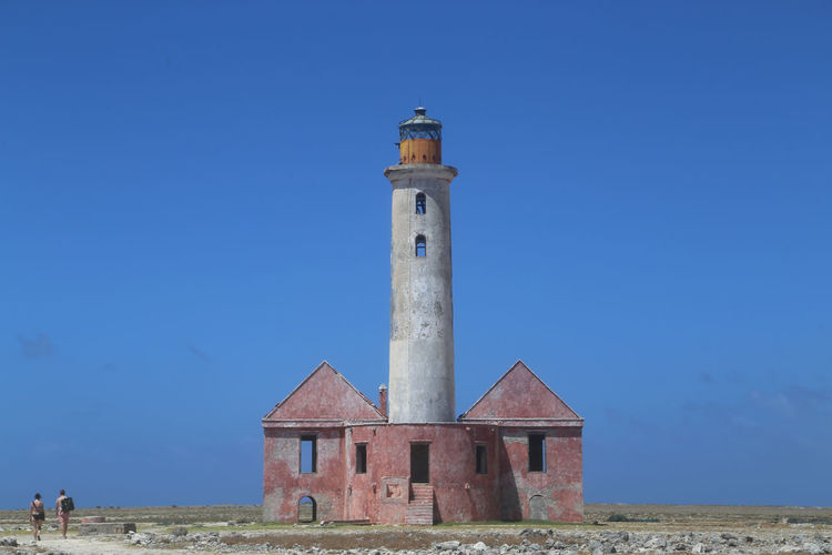 Blue Built Structure Caribbean Clear Sky Day Klein Curacao Lighthouse Outdoors Remote Stand Alone Torn Down Tourist Tranquil Scene