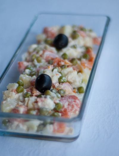 Background Close-up Dish Food Freshness Garnish Glass Indulgence Lunch Mayonnaise Meal No People Olives Pea Beans Potato Ready-to-eat Salad Selective Focus Served Serving Size Soft Light Still Life Summer Temptation White