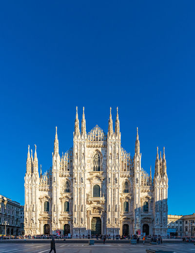 Vertical view of the famous church duomo di milano in milan, italy