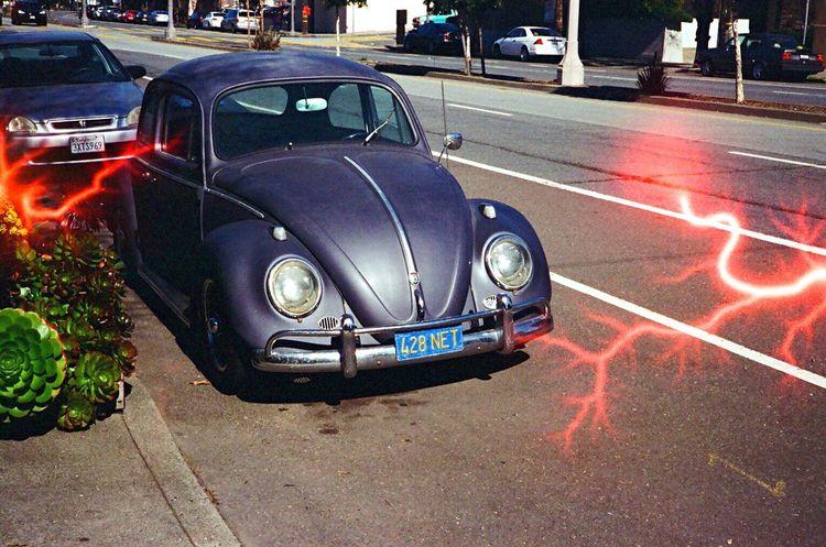 Vw Bug VW Beetle Land Vehicle Car Lightening Effect Experimental Film Revolog Film Koduckgirl Leica M6 Tesla Film