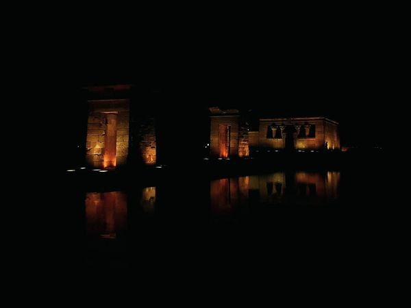 Templo de Debod Night Illuminated Water No People Built Structure Architecture Reflection Outdoors Sky Building Exterior Madrid City SPAIN Nocturnal Lights Tranquility Arquitectura Fotografianocturna