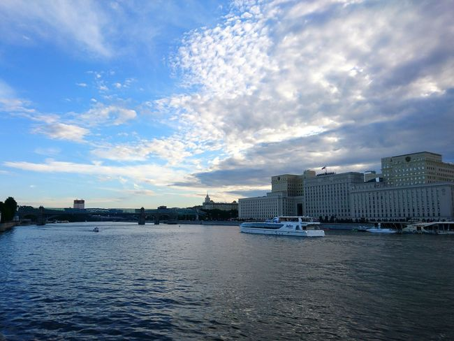 Moscow river in summer Water Cloud - Sky Sky Outdoors No People Day City Architecture Sea Nature Building Exterior Cityscape Nature Moscowriver Moscow Russia Landscape City Beauty Rear View 3XSPUnity EyeEm