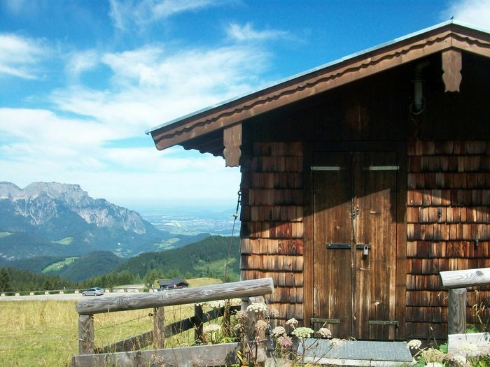 Cabin Mountains Height Blue Sky White Clouds Sunshine A Place Near To Heaven Bavaria Landscape Beautiful Nature Nothing Like Nature Hello World