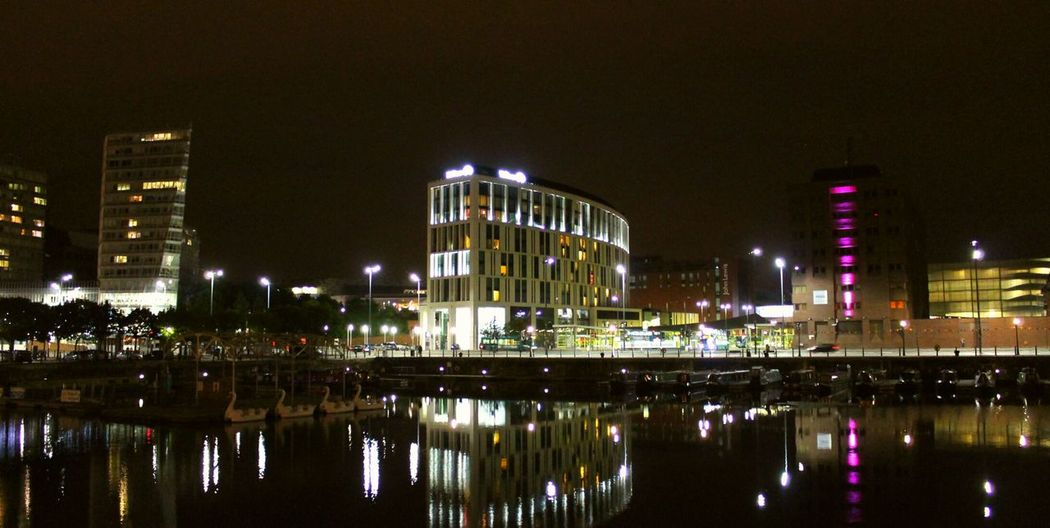 Liverpool Illuminated Water City Reflection Night Liverpool Waterfront Urban Skyline Architecture Albert Docks Sky