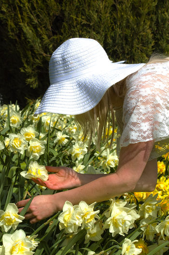 Side View Of Woman Holding Daffodil Blooming In Park During Sunny Day