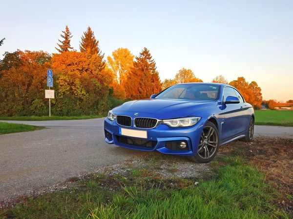 Bmw 4series Convertible Cabrio Blue Estorilblue Car Sportscar Fun Driving Sporty Cool Autumn Landscape Colorful Nature Autumncolors Vibrant Yellow Orange Countryside Mode Of Transport Road Outdoors Grass