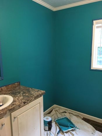 Paint House Messy No People Painting Finished Accomplished Fresh Paint Just Painted Bathroom Interiors Home Repair Home Renovation  Wall Teal Teal Color Bright Fun Teal Bathroom Painted House DIY Home Diy Fresh Paint Wet Paint
