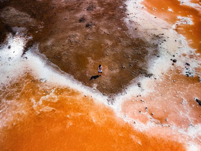 High angle view of man surfing on river