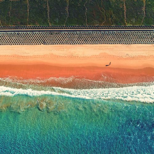 Aerial view of shore at beach
