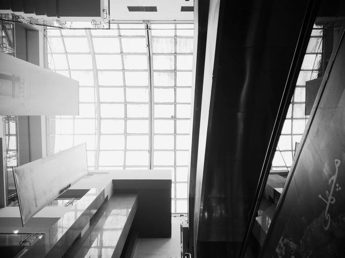 Indoors  Day Architecture Built Structure No People Worm's Eye View Wormseyeview Skylight Atrıum Mall Blackandwhite