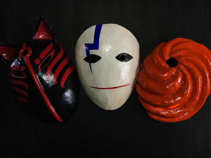 Paper machè masks! Maskara Festival Mascarade Mask Masks Fox Mask Kitsune Mask Hei Papercraft Paper Mask Darker Than Black Paper Machè Mask Obitouchiha Still Life Indoors  Representation Art And Craft No People Creativity Close-up Human Representation Medium Group Of Objects Black Background Anthropomorphic