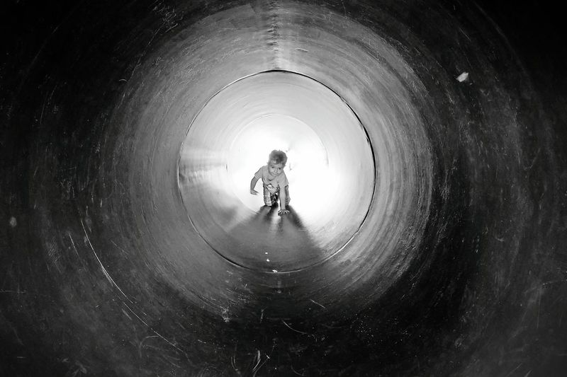Hope in a Tunnel Black & White Childsplay Urban Shapes Outdoors Man Made Object Tunnel