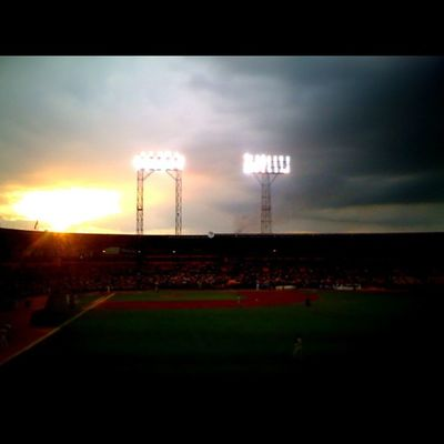 Sunset at the Ballpark .. This is how it look from the stands.. Simple amazing!! Nofilter Justtiltshift 3g clouds sun photooftheday sports igers @igersrd santiagoDR