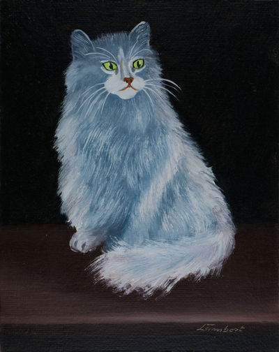 Oilpainting - Grey blue Angora cat with green yellow eyes against a black background ArtWork Canvas Angora Animal Animal Themes Black Background Blue Grey Bushy Fur Cat Cat On Table Domestic Domestic Animals Domestic Cat Grey Cat Indoors  Looking No People Oil Painting One Animal Pets Portrait Sitting Cat Studio Shot Whisker White Color