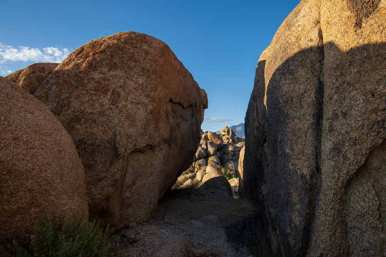 Rock formations on sunny day in alabama hills desert land