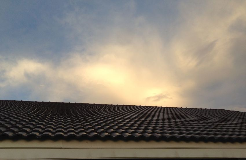 The roof and sunset Cloud - Sky Corrugated Nature Outdoors Roof Roof Tile Sky Solar Energy Sunset