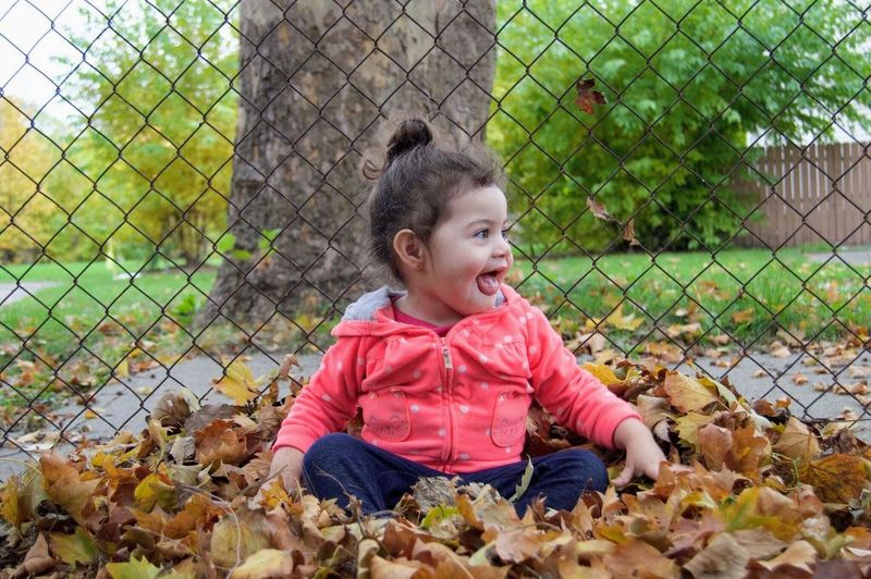 Childhood Fence Toddler  Outdoors Mouth Open Babyhood Nature Sitting Innocence Detroit Playing Child Smiling Happiness Cheerful Girl