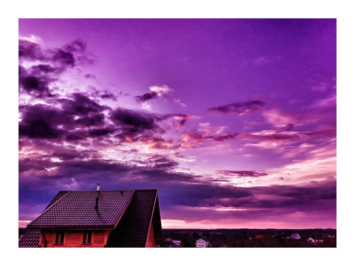 Purple Sky Architecture Night Built Structure Low Angle View Outdoors Building Exterior No People Moon Nature City Astronomy