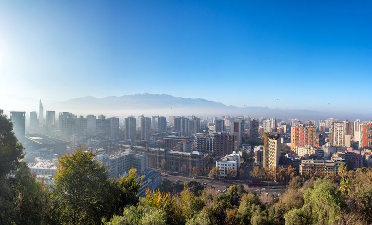 Panoramic cityscape view of downtown Santiago, Chile Architecture Capital Capital Cities  Chile City Cityscape Latin America Panorama Panoramic Santiago Santiago De Chile Skyline South America Tourism Travel Travel Destinations Tree Trees Urban Urban Skyline