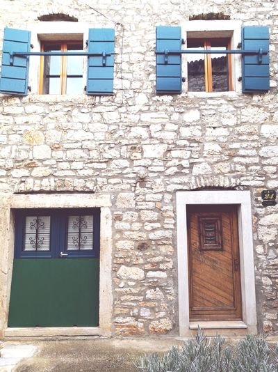 Window Building Exterior Architecture Built Structure Door Outdoors Entrance Day No People Istria Istria Bale Valle Stone Houses  Istra Old Buildings Old House Windows Doors Doorporn Doors With Stories Façade Windowporn