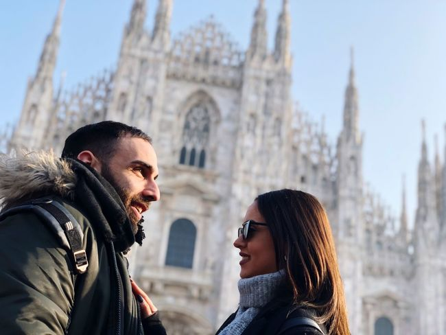 human connection Having Fun Traveling Love Couple Relationship Plazza Duomo Di Milano Duomo EyeEm Selects Two People Architecture Young Adult Building Exterior Built Structure Young Men Winter Clothing Togetherness Men Adult Lifestyles Women Cold Temperature Warm Clothing Real People City Young Women Young Couple Heterosexual Couple