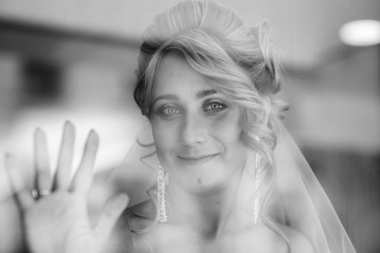 portrait of bride Authentic Moments Beautiful Woman Beauty Black & White Blackandwhite Blond Hair Bride Close-up Day Focus On Foreground Happiness Indoors  Lifestyles Looking At Camera One Person Portrait Portraits Real People Wedding Wedding Dress Wedding Photography Window Young Adult Young Women Be. Ready.