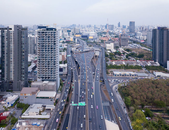 High angle view of elevated road in city