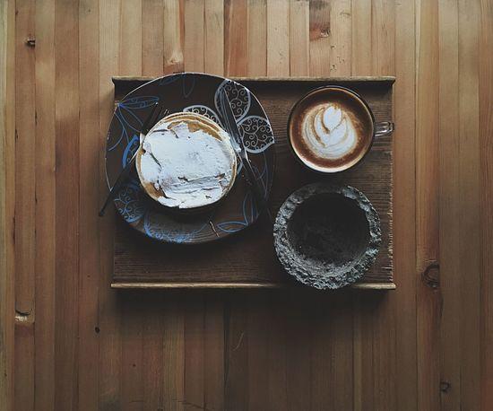 Latte Cafe Coffee Pancakes Konjcafe