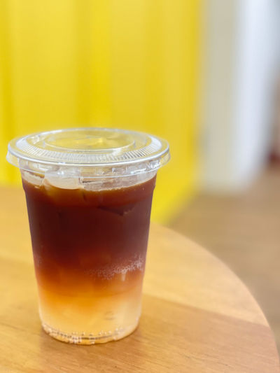 Close-up of ice tea on table