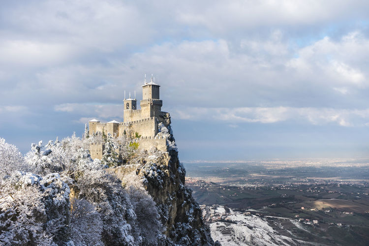 View of the first tower of san marino with snow.