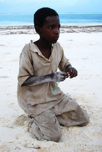 People Of The Oceans Zanzibar Boy Africa Beach Clouds And Sky Seaside Sand & Sea