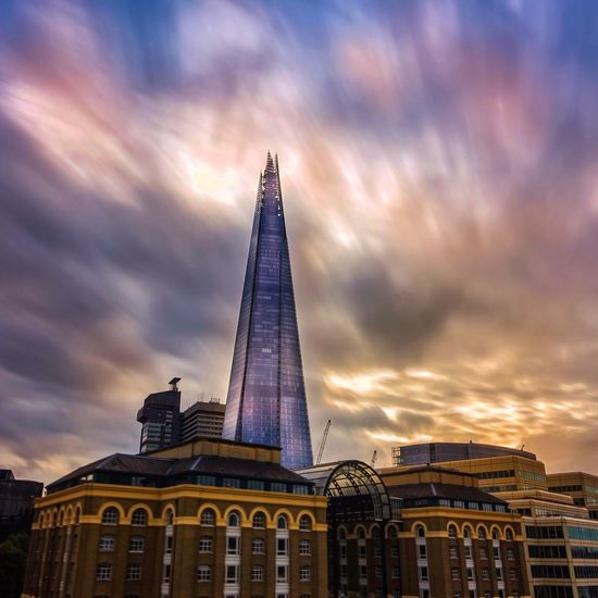 Architecture Built Structure Building Exterior Tower Sky Tall - High Modern Cloud - Sky Skyscraper City No People Low Angle View Travel Destinations Cityscape Sunset Outdoors Pyramid Day Drone  Thames London Shard Shard London Shard London Bridge