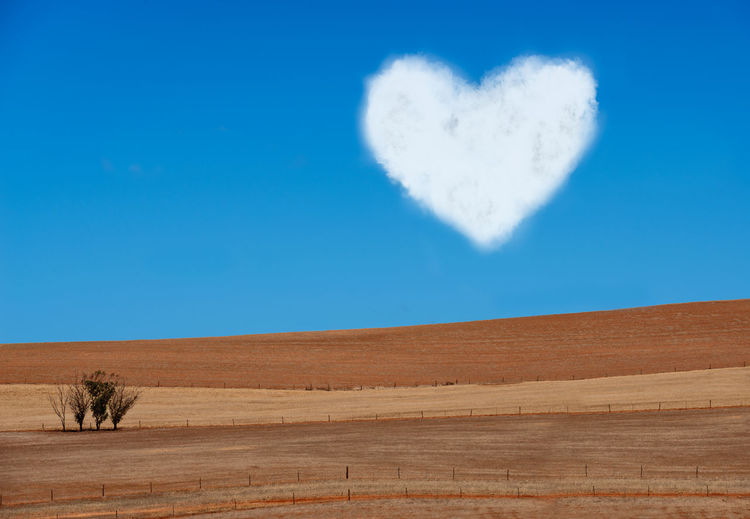 Landscape of ploughed Field with few trees and clouded heart on blue sky Agriculture Cloud Cloud Heart In The Sky Field Beauty In Nature Blue Copy Space Countryside Day Environment Harvest Heart Heart Shape Horizon Over Land Landscape Love Nature No People Ploughed Field Positive Emotion Scenics - Nature Sky Tranquil Scene Tranquility Valentine's Day - Holiday