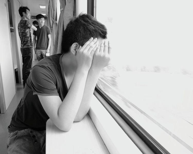 Kid Youmobile Monochrome Taking Photos Black And White Blackandwhite The Human Condition Enjoying Life On The Train The Street Photographer - 2016 EyeEm Awards